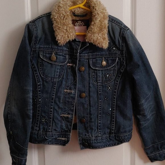 Gap Girl's Faux Sherpa Lined Denim Jacket